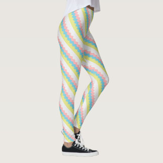 Diagonal wavy lines in pretty pastel colored leggings