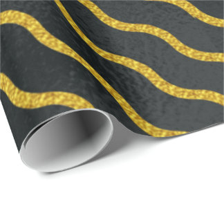 Diagonal Wavy Stripe Gold on Black ID365 Wrapping Paper