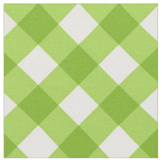 Diagonal White/Green Gingham Pattern Fabric