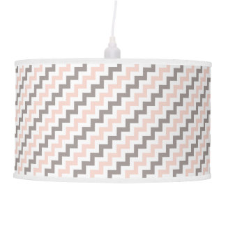 Diagonal White Grey Pink Chevron Pendant Lamp