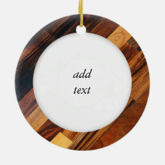 Diagonal Wood Flooring Image Round Ceramic Ornament
