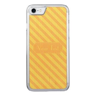 Diagonal yellow orange Stripes text Carved iPhone 8/7 Case