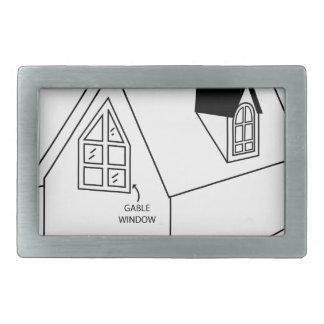 Diagram of dormer and gable window rectangular belt buckle