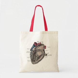 Diagramme anatomique vintage de coeur sac en toile budget