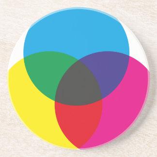 Diagramme de mélange de couleur soustractive dessous de verres