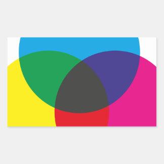 Diagramme de mélange de couleur soustractive sticker rectangulaire