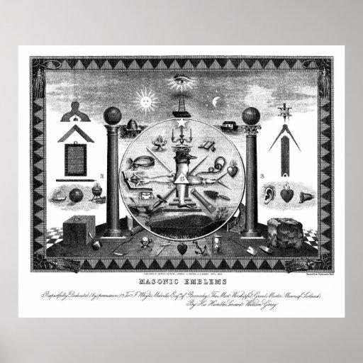 Diagramme maçonnique d'emblèmes à partir de 1874 posters