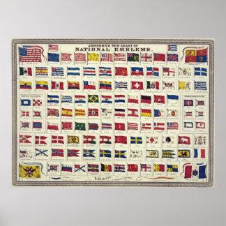 Diagramme vintage de drapeaux nationaux - créé 186 poster