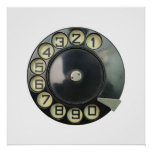 dial disc vintage retro phone number disc rotary poster