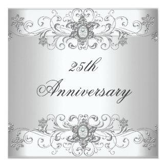 Diamant blanc argenté de 25ème anniversaire carton d'invitation  13,33 cm