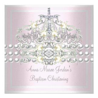 Diamant blanc de perle d argent rose de diadème de invitation personnalisable