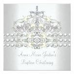 Diamant blanc de perle d'argent de diadème de carton d'invitation  13,33 cm