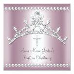 Diamant blanc de perle d'argent de rose de diadème faire-part personnalisés