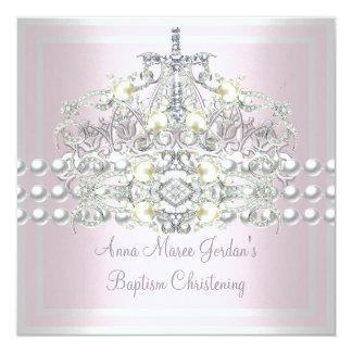 Diamant blanc de perle d'argent rose de diadème de invitation personnalisable