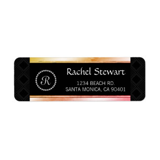 Diamante Monogrammed Elegant Personalized Address
