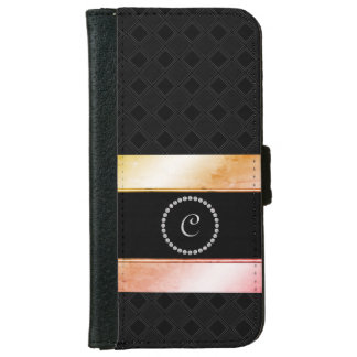 Diamante Monogrammed Watercolor Rose Gold Pattern iPhone 6 Wallet Case