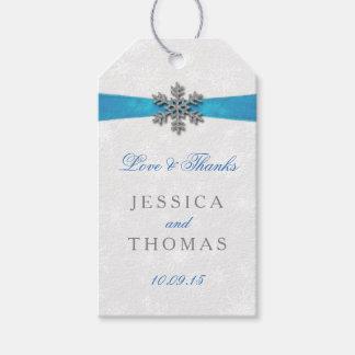 Diamante Snowflake & Blue Ribbon Winter Wedding Gift Tags