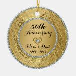 Diamants et anniversaire de mariage d'or décoration de noël