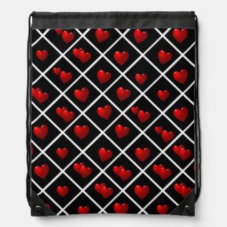 Diamants noirs de coeurs rouges sacs avec cordons