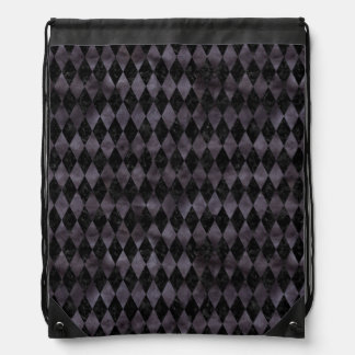 DIAMOND1 BLACK MARBLE & BLACK WATERCOLOR DRAWSTRING BAG