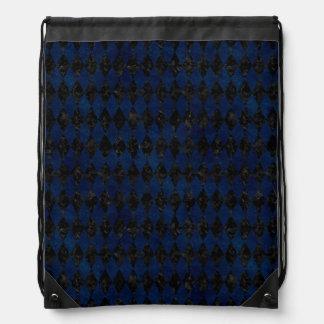 DIAMOND1 BLACK MARBLE & BLUE GRUNGE DRAWSTRING BAG