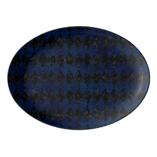DIAMOND1 BLACK MARBLE & BLUE GRUNGE PORCELAIN SERVING PLATTER