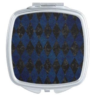 DIAMOND1 BLACK MARBLE & BLUE GRUNGE TRAVEL MIRRORS