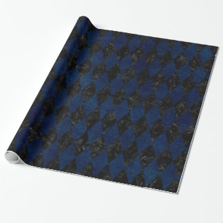 DIAMOND1 BLACK MARBLE & BLUE GRUNGE WRAPPING PAPER