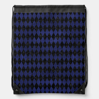 DIAMOND1 BLACK MARBLE & BLUE LEATHER DRAWSTRING BAG