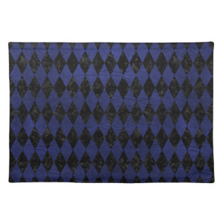 DIAMOND1 BLACK MARBLE & BLUE LEATHER PLACEMAT