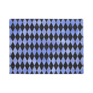 DIAMOND1 BLACK MARBLE & BLUE WATERCOLOR DOORMAT