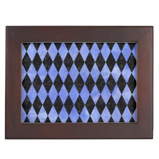 DIAMOND1 BLACK MARBLE & BLUE WATERCOLOR KEEPSAKE BOX
