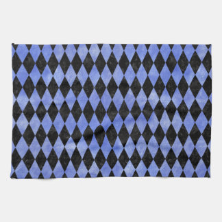 DIAMOND1 BLACK MARBLE & BLUE WATERCOLOR KITCHEN TOWEL