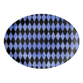 DIAMOND1 BLACK MARBLE & BLUE WATERCOLOR PORCELAIN SERVING PLATTER