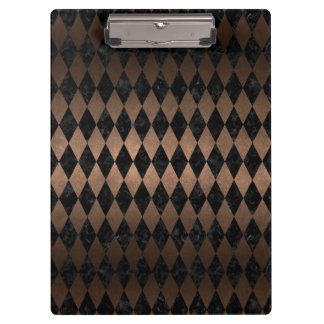 DIAMOND1 BLACK MARBLE & BRONZE METAL CLIPBOARD