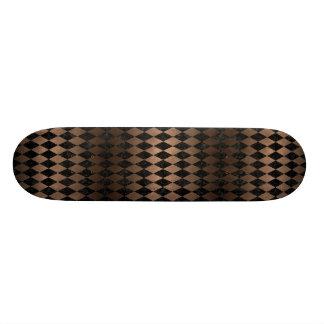 DIAMOND1 BLACK MARBLE & BRONZE METAL SKATE BOARD DECK