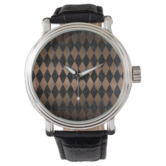 DIAMOND1 BLACK MARBLE & BRONZE METAL WATCH