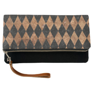 DIAMOND1 BLACK MARBLE & BROWN STONE CLUTCH