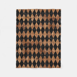 DIAMOND1 BLACK MARBLE & BROWN STONE FLEECE BLANKET