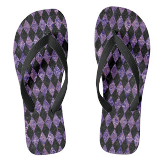 DIAMOND1 BLACK MARBLE & PURPLE MARBLE FLIP FLOPS
