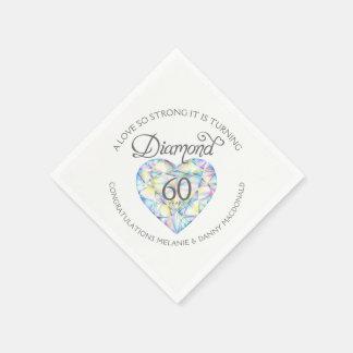 Diamond 60th Anniversary heart art name napkins