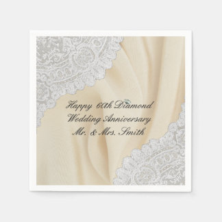 Diamond 60th Wedding Anniversary Faux Satin+Lace Napkin