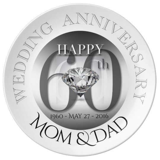 Diamond 60th Wedding Anniversary porcelain plate