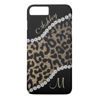 Diamond and Leopard Monogram iPhone 8 Plus/7 Plus Case