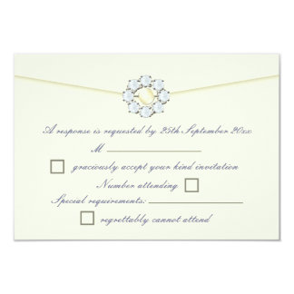 Diamond and Pearl Broach Ivory Wedding RSVP Personalized Invites