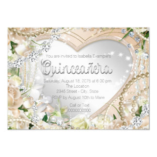 "Diamond and Pearl White Rose Quinceanera 4.5"" X 6.25"" Invitation Card"