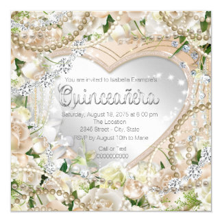 Diamond and Pearl White Rose Quinceanera Card