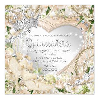 """Diamond and Pearl White Rose Quinceanera 5.25"""" Square Invitation Card"""