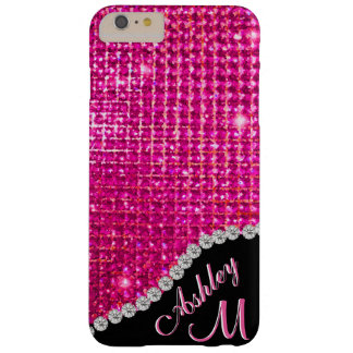 Diamond and Pink Glitter Monogram Barely There iPhone 6 Plus Case