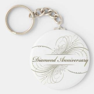 Diamond anniversary basic round button keychain